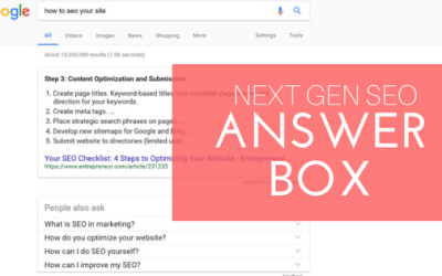 Next Gen SEO: Answer Box
